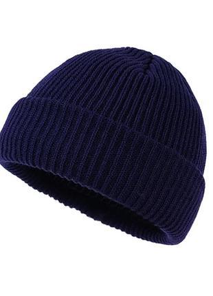 Трендовая синяя шапка бини