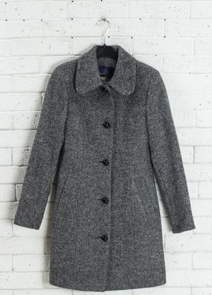Супер стильное серое меланжевое пальто/германия/валяная шерсть/42-44