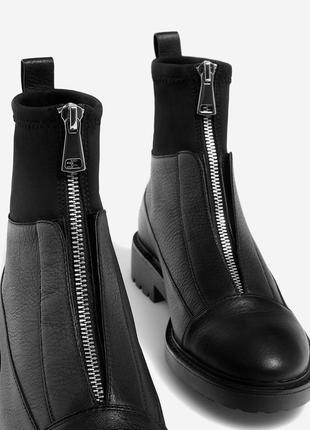 Новые 100% натуральная кожа ботинки на молнии stradivarius