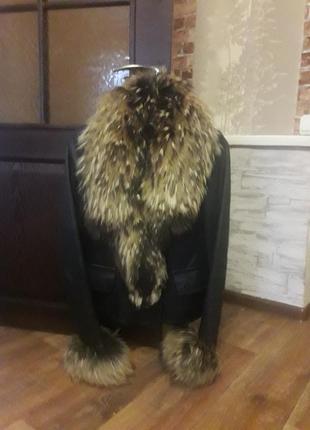 Кожаная куртка зима с мехом енот