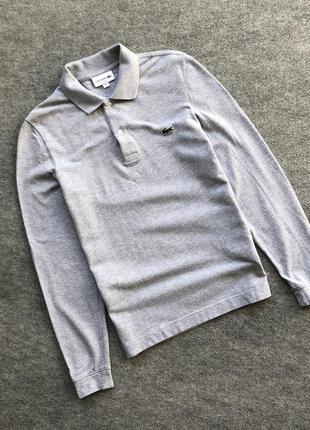 Оригінальний лонгслів lacoste classic slim fit long sleeve grey