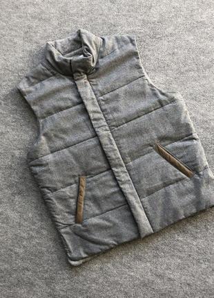 Оригінальна жилетка з кашеміру і шерсті della ciana wool/cashmere down vest grey