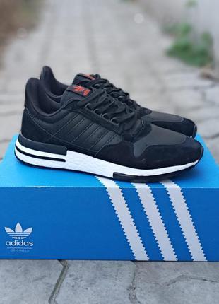 Мужские кроссовки adidas zx 500 черные, демисезонные