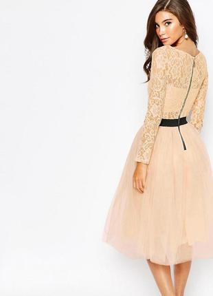 Rare london персиковое платье шифон кружево роскошь