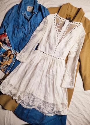Платье белое гипюр гипюровое кружево миди свободное с сеточкой рукав 3/4 классическое нарядное