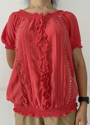 Блузка женская розовая летняя блуза легкая, женская блуза, легкая блуза.