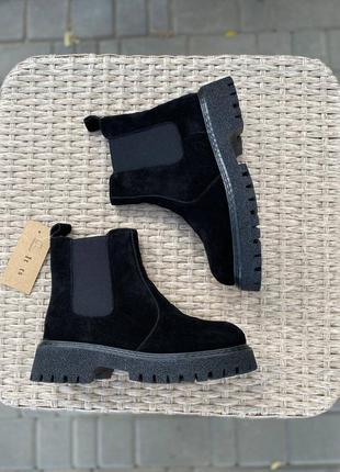 Челси зимние черные замша ботинки челсі жіночі зимові черевики