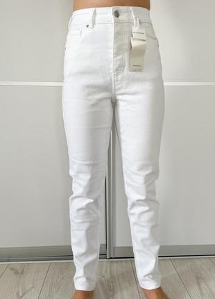 Білі джинси reserved трендові світлі джинси білі штани жіночі, белые брюки мом, фирменные джинсы.