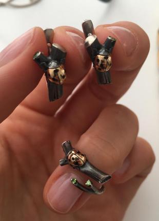 Потрясающий комплект - серьги и кольцо, серебро, золото и камень диамантоид