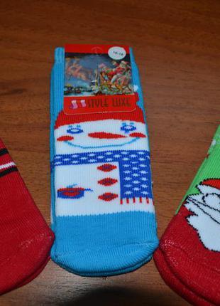 Махровые детские новогодние носки// дед мороз, снеговик