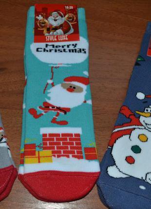 Махровые детские новогодние носки// дед мороз, снеговик, санта
