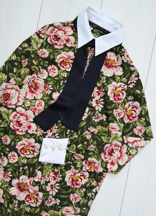 Шикарная рубашка в цветочный принт с воротничком