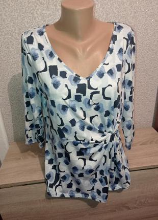 Блуза блузка с узлом батал 3/4рукав батал