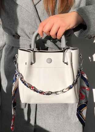 Женская сумка белая, бежевая из эко кожи