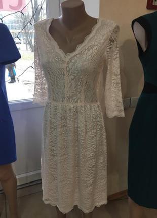 Пудровое гипюровое платье next p.8 кружевное платье миди