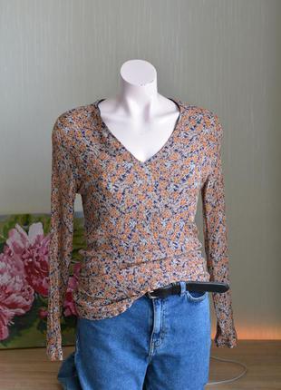Блуза рубашка в цветочный узор вискоза шелк жатка