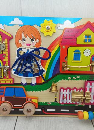 Детская деревянная игрушка бизиборд