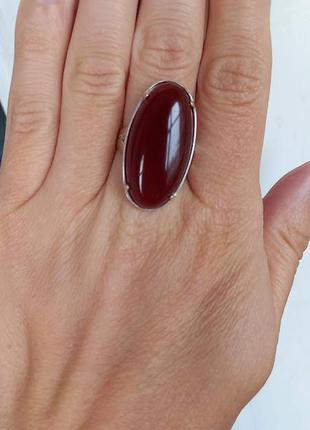 Серебряное кольцо с сердоликом 19,5