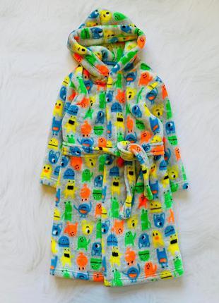 Mothercare классный плюшевый халат на мальчика   4-6 лет