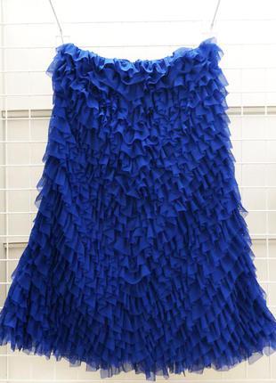 Очень необычное синие платье в оборках tago