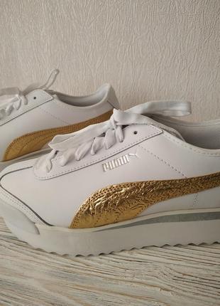 Puma кроссовки с золотыми деталями на платформе натуральная кожа оригинал