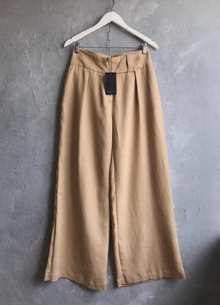100% лён брюки палаццо - испания - новые