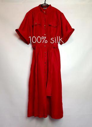100% шелк. красное шелковое платье миди от denise lawrence