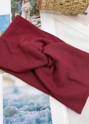 Бордовая женская повязка на голову детская повязка