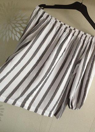 Блуза в полоску с люрексовой нитью со спущенными плечами аtmosphere