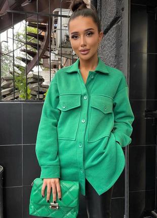 Зелёная кашемировая рубашка