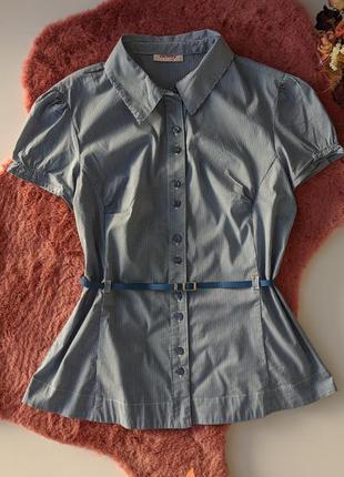 Orsay блузка белая в синюю полоску с пояском коротким рукавом блуза