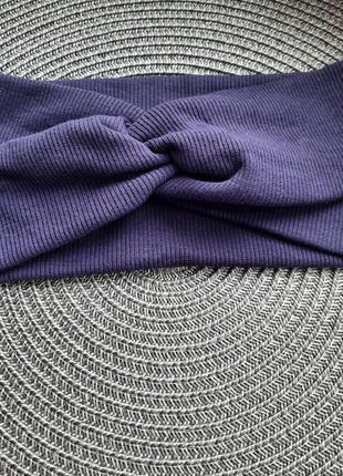 Темно синяя женская трикотажная повязка на голову