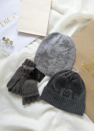 Комплект набор шапка перчатки варежки