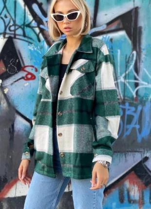 Зелёная женская кашемировая рубашка
