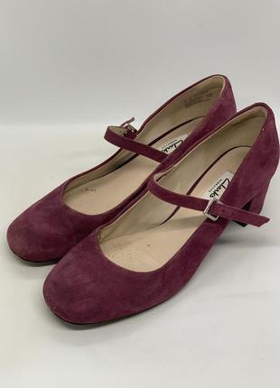 Розовые туфли низкий каблук 38р