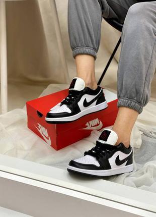 Nike air jordan 1 low black   кожаные кроссовки демисезон