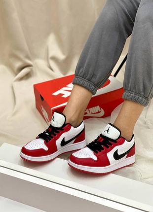 Nike  air jordan 1 low full red кожаные кроссовки демисезон