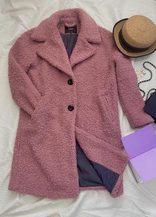 Шуба пальто пудровое розовое тэдди длинное оверсайз