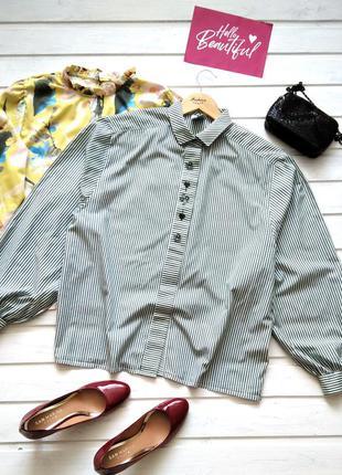 Хлопковая рубашка в полоску, с вышивкой, батал, большой размер