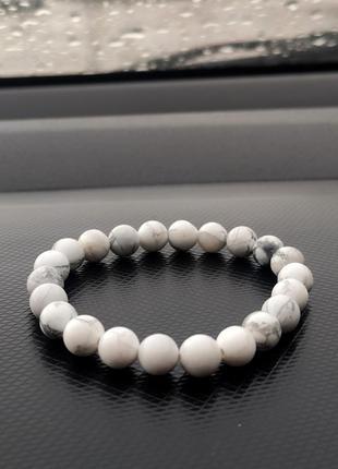 Білий браслет з натурального каміння кахолонг