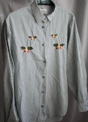 Рубашка с нашивкой, в полоску сорочка, желудь