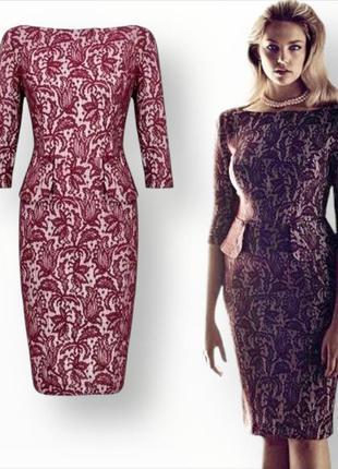 Роскошное нарядное кружевное  платье-футляр tu