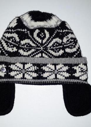 Вязаная шапка ушанка mexx
