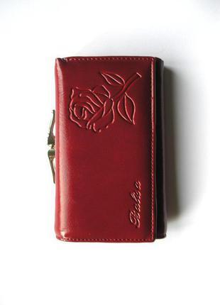 Вишневый кожаный кошелек роза, 100% натуральная кожа, доставка бесплатно.