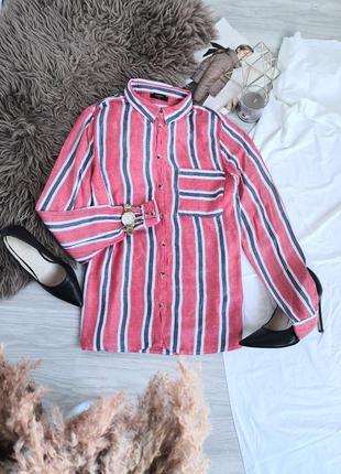 Стилтная красная мягкая рубашка в полоску