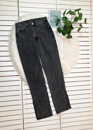 Прямые джинсы мом mom с разрезами shein p. xs