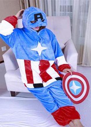 Капитан америка кигуруми пижама лыжный костюм флис  до 182 см