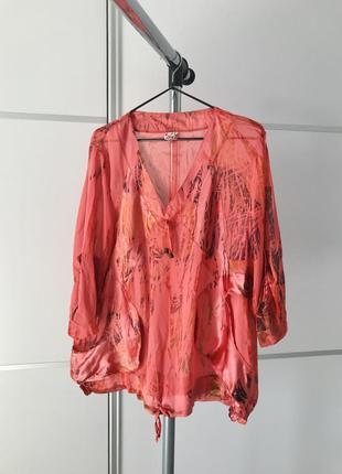 Блуза, коралловая летняя блуза, полупрозрачная блуза.