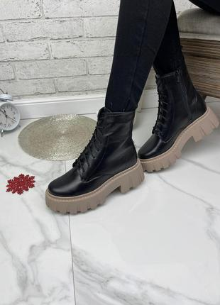36-41 рр деми/зима высокие ботинки на шнурках и платформе кожа