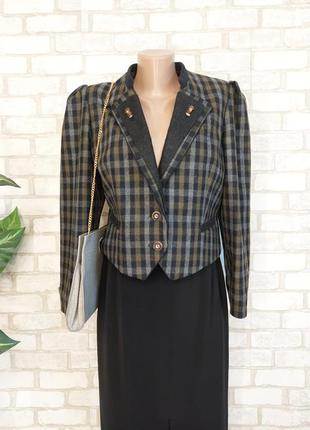 Новый мега тёплый пиджак/жакет на 70 %шерсть в стильную клетку, размер с-м